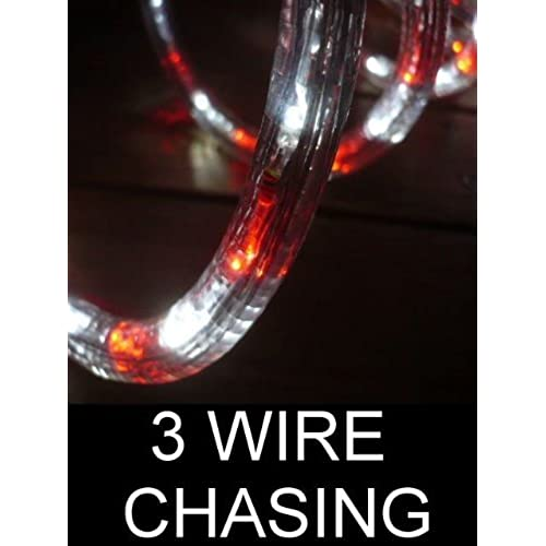 Chasing lights amazon 10ft rope lights 3wires vivid red and pure white chasing led rope light kit christmas lighting outdoor rope lighting mozeypictures Choice Image