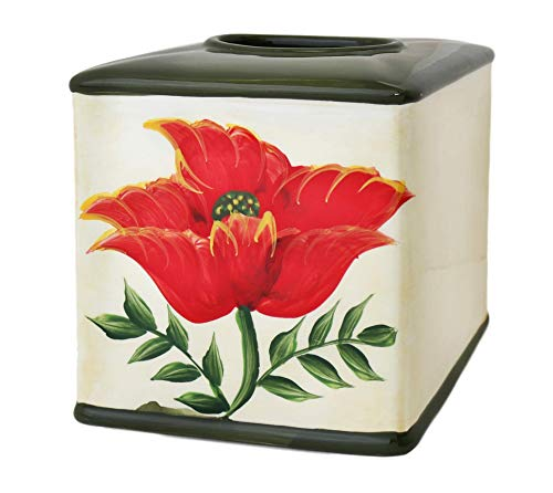Tuscany Floral Poppy, Hand Painted Ceramic collection (TISSUE BOX)
