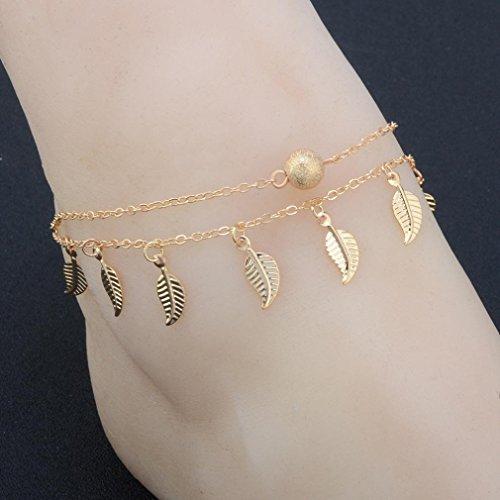 Sinwo Fashion Women Girls Crystal Jewelry Anklet Leaves Charm Bracelet Bangle Gift (Gold) (White Jade Bangles Gold)