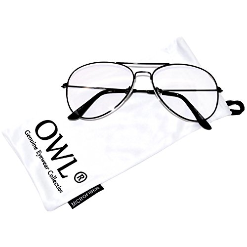 Aviator Clear Lens Black Metal Sunglasses Men's Women's Non-Prescription - Online Frames Aviator