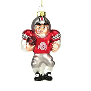 "5.5"" NCAA Ohio State Caucasian Player Glass Christmas Ornament"