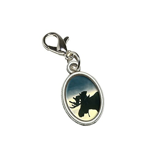 Graphics and More Moose Antiqued Bracelet Pendant Zipper Pull Oval Charm with Lobster Clasp