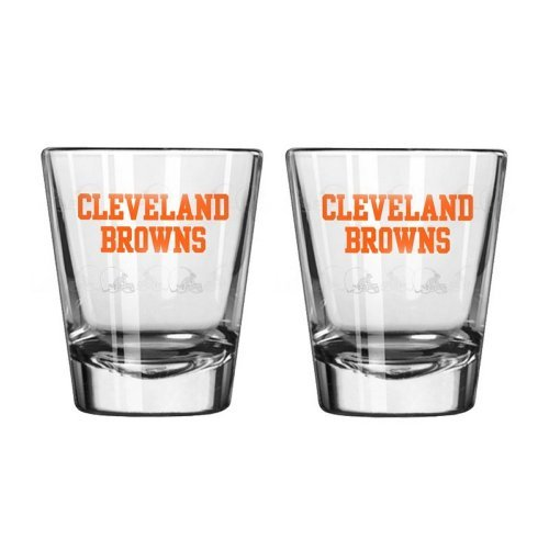 NFL Football Team Logo Satin Etch 2 oz. Shot Glasses | Collectible Shooter Glasses - Set of 2 (Browns)
