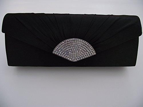 Elegante nero diamante raso frizione/sera borsa ideale per matrimoni sposa parti