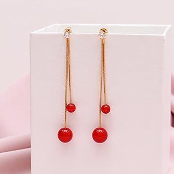 2ee65a20aa58 BAOZIV587 Aretes Cristal Moda La perla Roja de temperamento femenino largo