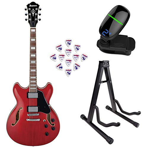 Ibanez AS73 Artcore Series Hollow-Body Electric Guitar (Transparent Cherry Red) with Front Row Guitar Stand, tuner and pick sampler