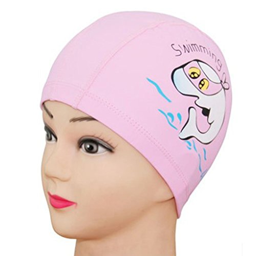 PIXNOR Children Breathable Swimming Hat Waterproof Ear Protection Swim Cap (Pink)