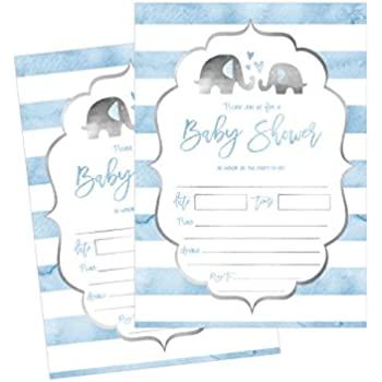 Amazoncom Blue Elephant Boy Baby Shower Invitations 8ct Kitchen