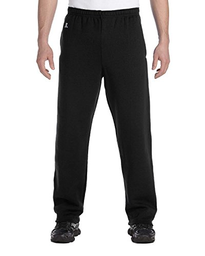 Russell Athletic Mens Dri Power Open Bottom Pocket Pant, BLACK, XL (Sweatpants Athletic Russell Mens)