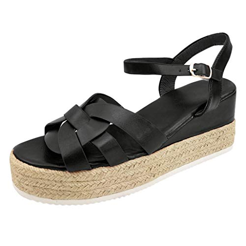 LIM&Shop ⭐ Shoes Women's Ankle Strap Flat Espadrilles Summer Platforms Sandals - Criss Cross Casual Shoes Open Toe Black