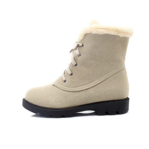 Allhqfashion Women's Frosted Lace-up Round Closed Toe Low-Heels Low-Top Boots Beige 19XJrBaQY8