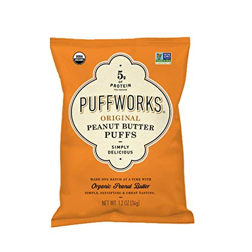 Organic Corn Puffs (Puffworks Organic Peanut Butter Puffs - USDA-Organic - Kosher - Non-GMO - Gluten-Free - (Original, 12 Single Serve Bags))