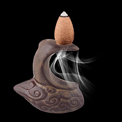 TOPmountain Mini humo Quemador de incienso Backflow Estufa de aromaterapia para el incensario Casa de té de cerámica Decoraciones de decoración Adornos ...