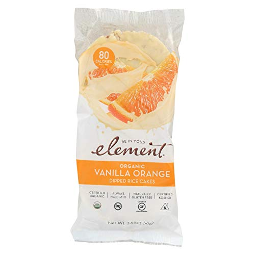 ELEMENT, Rice Cake, Og2, Van, Orange, Pack of 6, Size 3.5 OZ, (Low Carb Gluten Free Kosher Low Sodium Vegan Wheat Free Yeast Free 95%+ Organic)