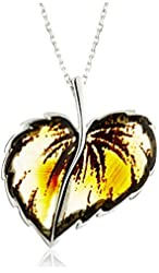 Rhodium Plated Sterling Silver Carved Amber Leaf Pendant Necklace