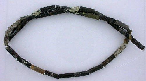(13x4 Tube Gemstone Black Gray Silver Leaf Agate Beads 15 Inch Strand 13mm x 4mm)