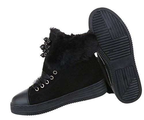 bequeme Damen Sneakers | Sneaker gefüttert | Hohe Schuhe | Halbschuhe Sportschuhe | Winter Kunst Fell Sneakers | Freizeitschuhe Cap Toes | Schuhcity24 Schwarz