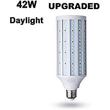 42 Watt LED Corn Bulb,4200 Lumen 280 Watt Equivalent 6000K,Cool Daylight White LED Street and Area Light,E26/E27 Medium Screw Base,For Indoor Garage Factory Warehouse Barn Backyard,Super Bright