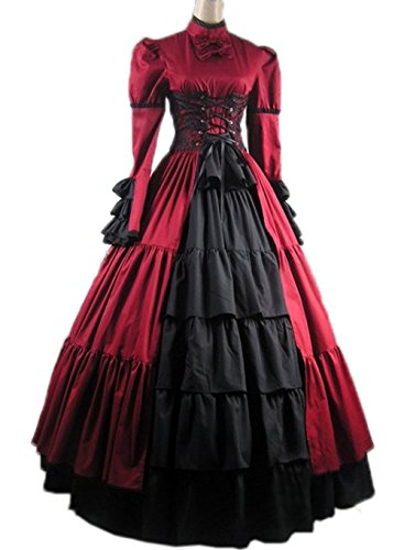 Gothic Victorian Costume Nuoqi Women's Halloween Cosplay Dress (Victorian Period Costumes)