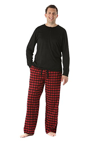 44911-5-XL #FollowMe Pajama Pants Set for Men / Sleepwear / PJs, Black/Red Plaid