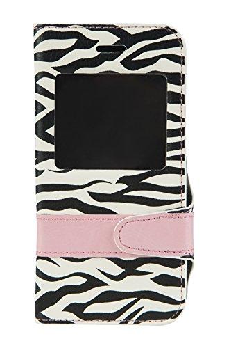 Elegante custodia a libro Flip Case Zebra per Apple iPhone 6Custodia rigida Cover Book Case con Finestra e integierter Custodia in silicone