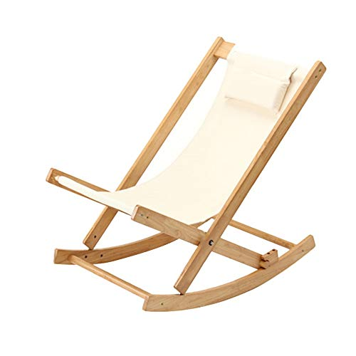 Rocking Chairs MEIDUO Rocking Lounger Balcony Leisure Wooden Folding Recliner Adjustable Durable Canvas with Mobile Padded Headrest Japanese-Style Outdoor Garden Sun Lounger ()