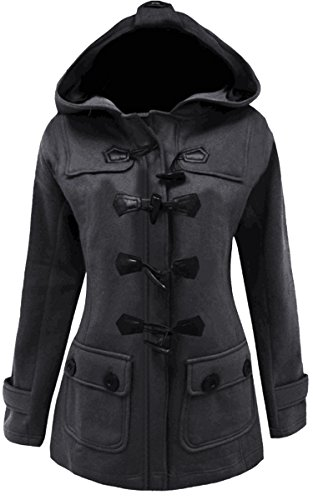 Meaneor Women's Plus Size Jacket Duffle Style Toggle Hoodie Pea Coat Top (L, Dark Gray)