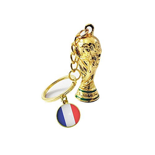 France Trophy - 2018 FIFA World Cup Trophy Cup with France Flag Key Chain Football Fans Souvenir Gifts, France