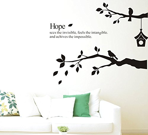 CaseFan Kid Baby Nursery Brids on Tree Branches Wall Sticker Vinyl Removable for Home Mural Paper DIY Decals (Buddha Sky Bar Halloween Party)