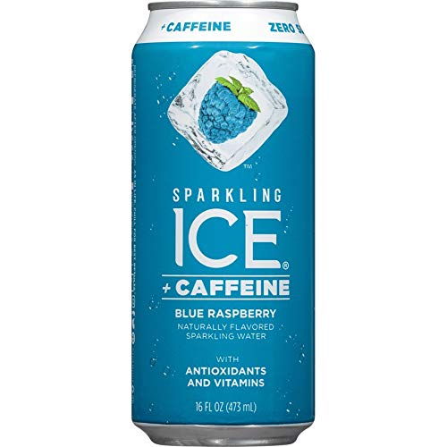 (Sparkling Ice +Caffeine Blue Raspberry, Naturally Flavored Sparkling Water with Antioxidants & Vitamins, Zero Sugar, 16oz Cans (Pack Of 12) )