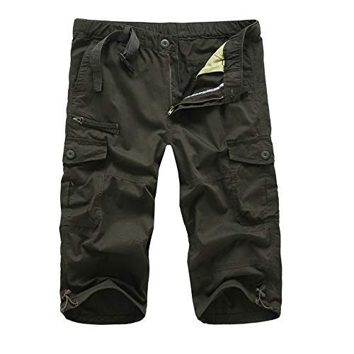 - Men's Belted Messenger Cargo Short Tactical Cargo Long Shorts Loose Fit Multi-Pocket Capri Long Shorts Tall Sizes Green