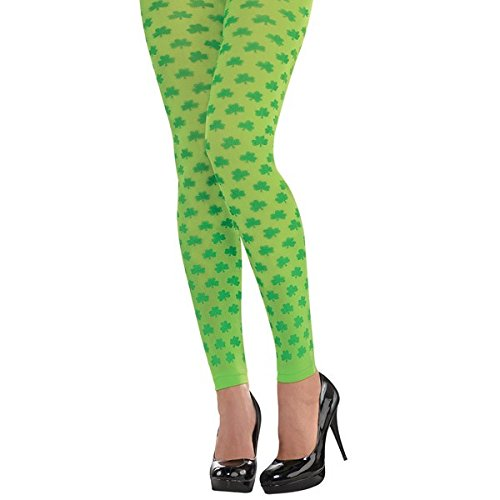 Amscan Lucky Irish St. Patrick's Day Shamrock Footless Tights Party Wearables (2 Piece), Green/Yellow Green, One (St Patricks Day Dress Up)
