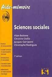 Sciences sociales - 7e éd.: Aide-mémoire Sirey