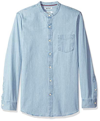 (Goodthreads Men's Slim-Fit Long-Sleeve Band-Collar Denim Shirt, -light blue, Medium)