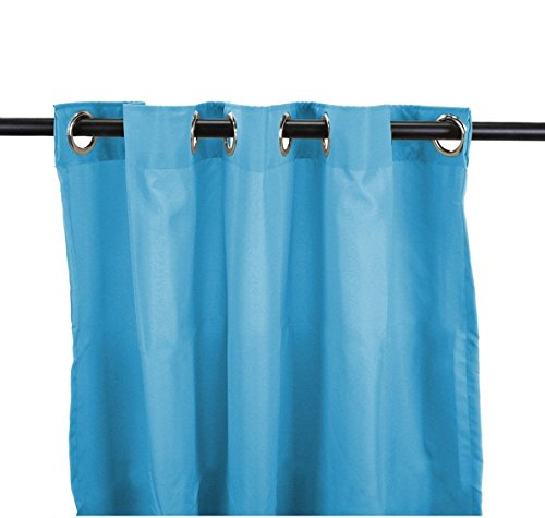 DH 1 Piece 84 Inch Carribean Blue Color Gazebo Curtain Single Panel, Light Blue Solid Color Pattern Rugby Colors Outside, Outdoor Pergola Drapes Porch Deck Cabana Patio Screen Entrance Sunroom