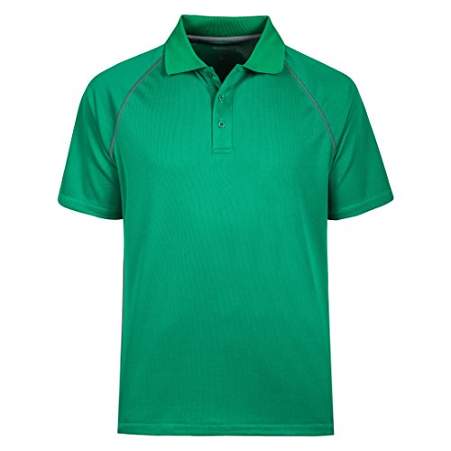 Sleeveless Collar Placket - MOHEEN Men's Short Sleeve Moisture Wicking Performance Golf Polo Shirt, Side Blocked, Tall Sizes: M-7XL (Green, XL)