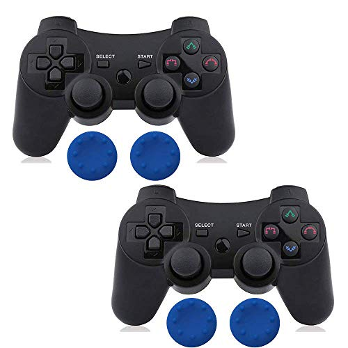 (PS3 Controller Wireless 2 Pcs Double Shock Gamepad for Playstation 3, Six-axis wireless PS3 Controller with Charging Cable by Bowei)