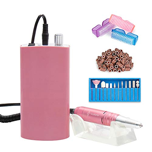 (Subay Professional Rechargeable Nail Drill Portable Electric Nail File Manicure Pedicure Machine with 11 in 1 Nail Drill Bits and Sanding Bands for Acrylic Gel Nails(Pink))