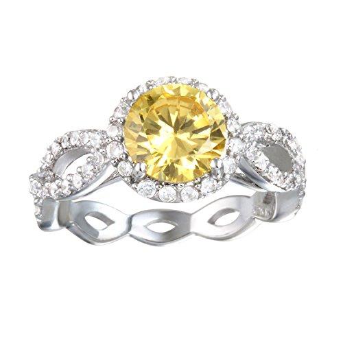 Rhodium Plated Silver Canary Cz Braided Shank Elegant Ring Size 7