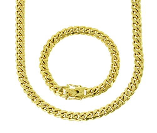 Bling Bling NY Solid 14k Yellow Gold Finish Stainless Steel 10mm Thick Miami Cuban Link Chain Box Clasp Lock (Chain 18'' & Bracelet 8'')