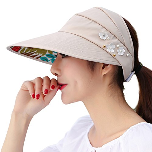 cf92d1ee JOYEBUY Women Wide Brim UV Protection Summer Beach Visor Cap Sun Hat (Beige)