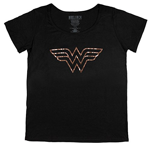 - Real Deal Sales LLC DC Comics Wonder Woman Rose Gold Foil WW Logo T-Shirt (Medium)