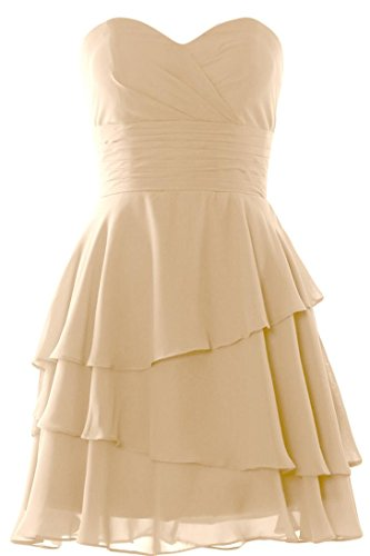 MACloth Women Strapless Tiered Cocktail Bridesmaid Dress Wedding Formal Gown Champagne