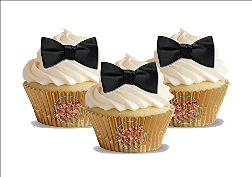 12 x Black Bow Ties Tie Fun Novelty Birthday Party PREMIUM STAND UP Edible Wafer Card Cake Toppers Decorations (Bow Tie Cake)