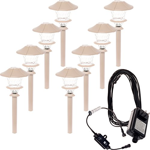 Paradise 8 Pack Aluminum LED Low Voltage Path Light Kit (Beechwood)