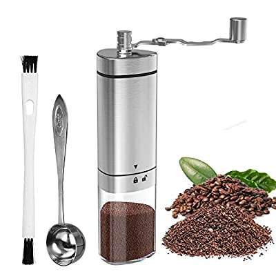 Manual Coffee Grinder with Adjustable Setting, GDREAMT Portable Hand Burr Coffee Grinder for Espresso, Aeropress, Drip Coffee, French Press, Turkish Brew, Conical Burr Mill & Brushed Stainless Steel from GDREAMT