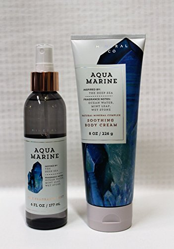 Bath & Body Works~ Signature Collection ~ Aquamarine ~ Fine Fragrance Mist 8 fl oz & Body Cream 8 oz ~ Gift Set ()