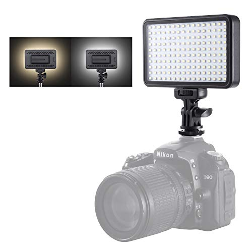 Emiral 160 LED Video Light, Portable On Camera Photo Fill Light Panel Dimmable for DSLR Camera, 3200K-6000K High Brightness Light with CT Filter