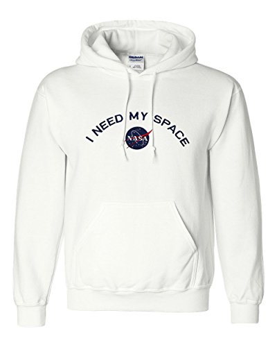 Armycrew Gildan Men's I Need My Space NASA Embroidered Heavy Blend Hooded Sweatshirt - White - S (Gildan Sweatshirt Embroidered)