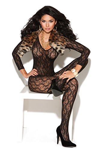 Romantic Lace Bodystocking (Zabeanco Sexy Long Sleeve Lace Bodystocking With Open Crotch (One Size, Black))